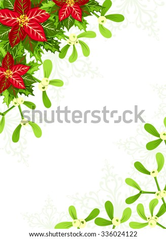 Christmas background with red poinsettia, mistletoe and holly leaves decoration elements. Vertical banner with corner decorations and copy space - stock vector