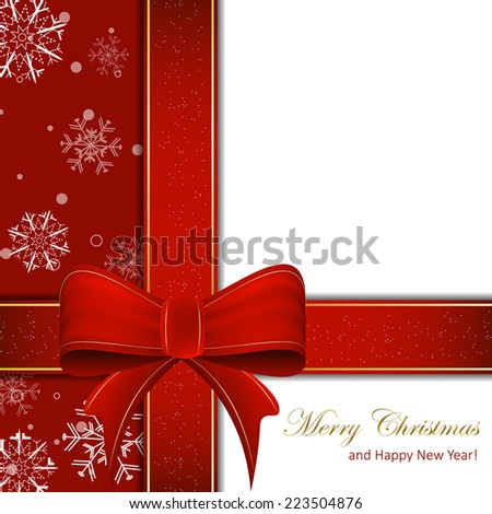 Christmas background with red ribbon and decoration/vector illustration