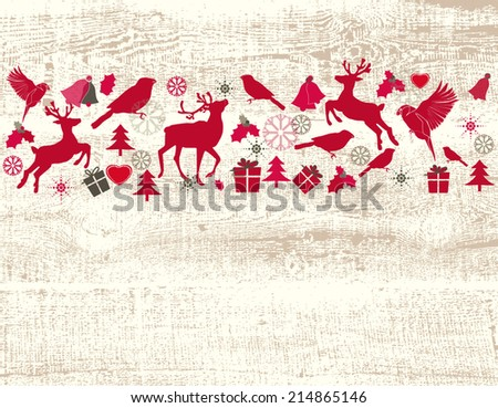 Christmas background with reindeers - stock vector