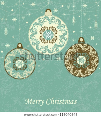Christmas background with retro balls - stock vector