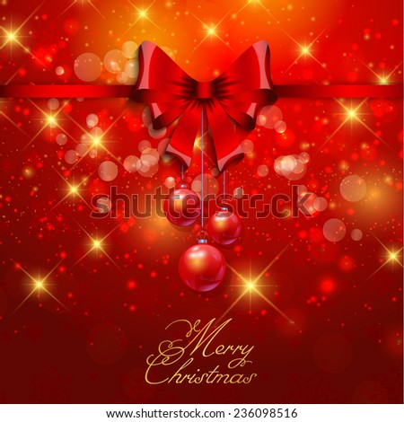Christmas background with ribbon and baubles