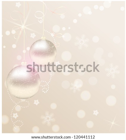 Christmas background with ribbons and christmas baubles - stock vector
