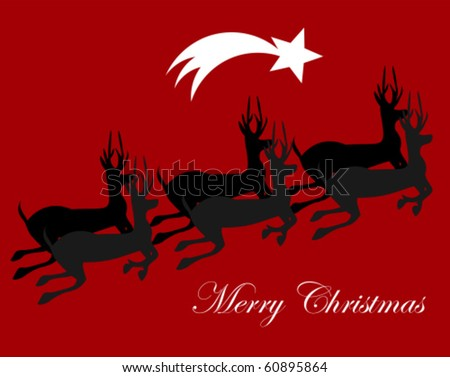 Christmas background with running reindeers. Vector illustration