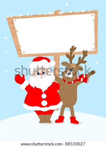 Christmas  background with Santa Claus and place for text