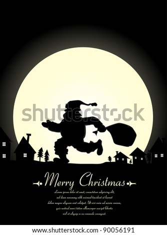 Christmas Background with Santa Claus silhouette - stock vector
