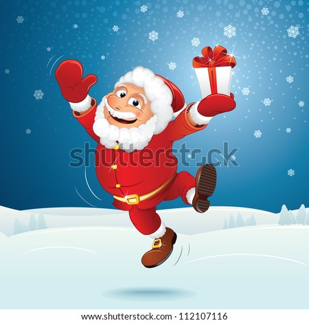 Christmas Background with Santa Claus. Vector - stock vector