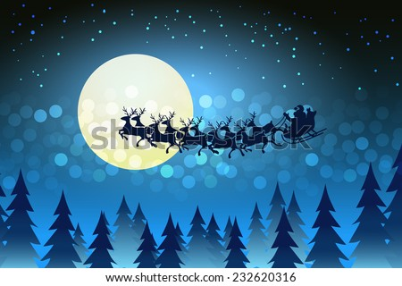 Christmas background with Santa driving his sleigh across the face of the moon on a starry cold winter night surrounded by a bokeh of sparkling lights and stars  copy space for your seasonal greeting - stock vector