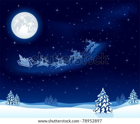 Christmas background with Santa's sleigh, illustration - stock vector