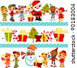 Christmas background with set kids kids holding hands in line with Santa, Christmas tree, snowman and gifts, in several rows - stock vector