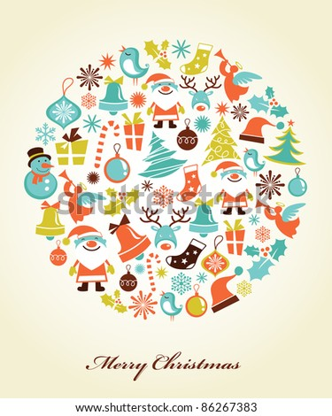 Christmas background with set of icons - stock vector