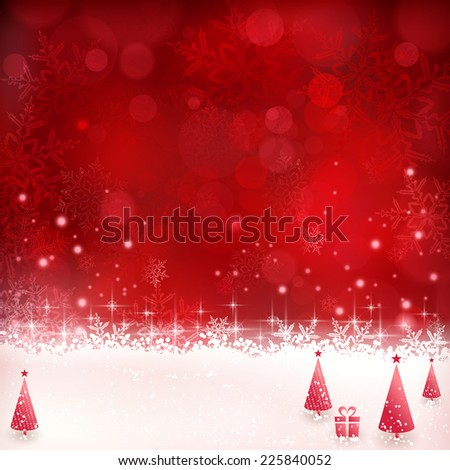 Christmas background with shiny light effects, blurry lights, Christmas trees and glittering snowflakes in shades of red. Great for the festive season of Christmas to come. - stock vector