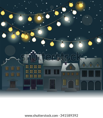 Christmas background with small town - stock vector
