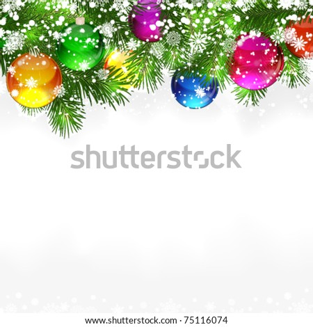 Christmas background with snow-covered branches of Christmas tree