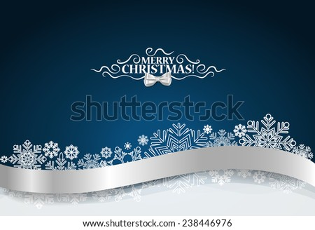 Christmas background with snowflake and shiny ribbon. Vector illustration. - stock vector