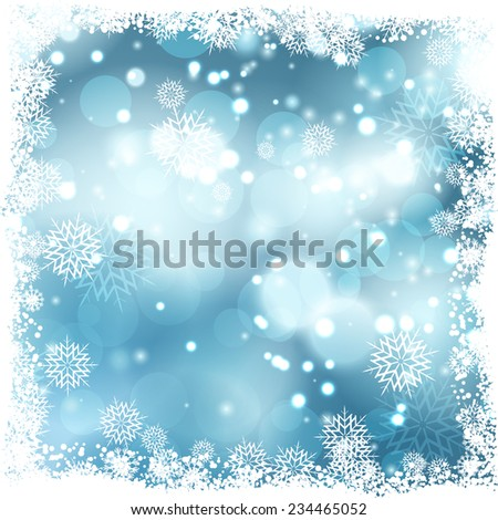 Christmas background with snowflake border - stock vector