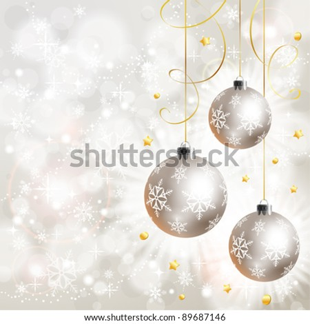 Christmas Background with Snowflakes and Bauble, element for design, vector illustration