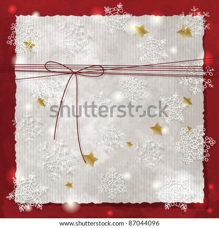 Christmas background with snowflakes and bow - stock vector