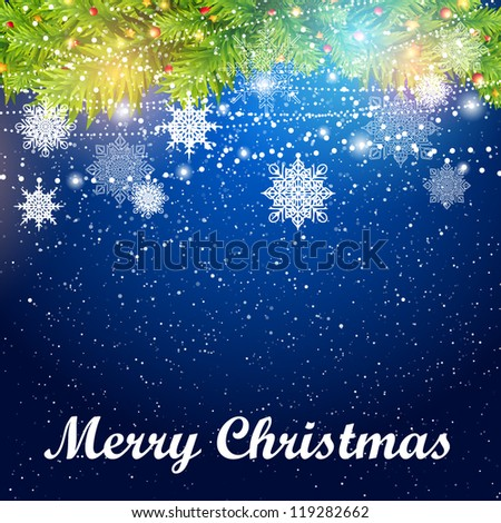 Christmas background with snowflakes and christmas tree - stock vector
