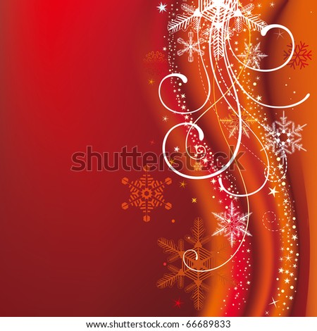 christmas background with snowflakes and decoration - stock vector