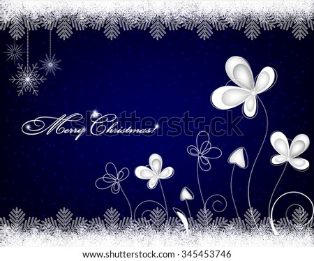 Christmas background with snowflakes and ice flowers  - stock vector