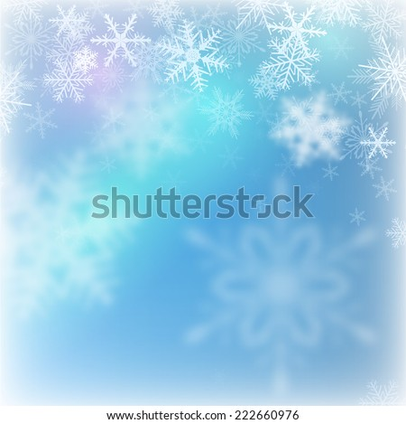 Christmas background with snowflakes, vector illustration. - stock vector