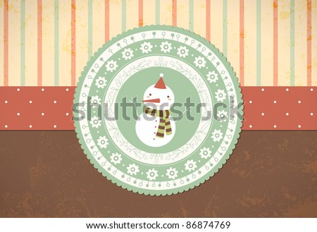 Christmas Background with Snowman in Retro Style - stock vector