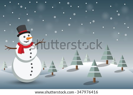 Christmas background with snowman in winter landscape