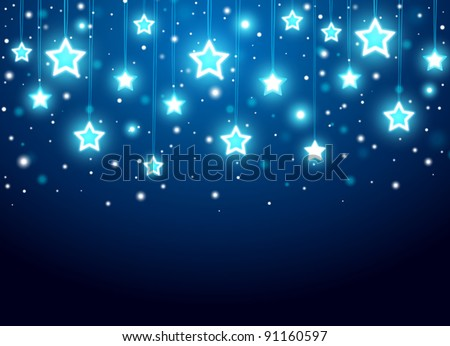 Christmas background with stars - stock vector