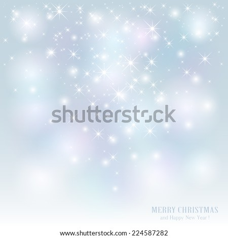 Christmas background with stars and blurry lights, illustration. - stock vector