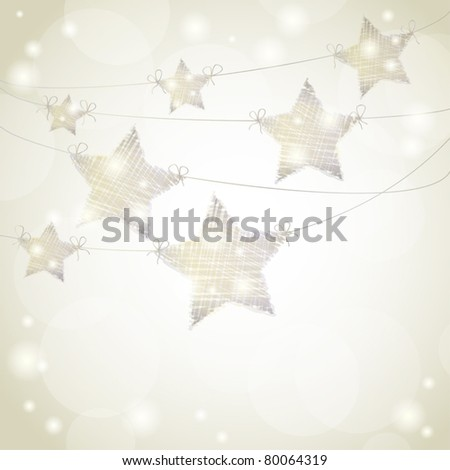 Christmas background with stars hanging from ribbons - stock vector