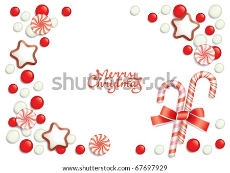 Christmas background with sweets composing a frame for your text - stock vector