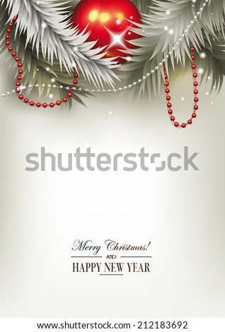 Christmas background with the christmas tree branches and glass garland - stock vector
