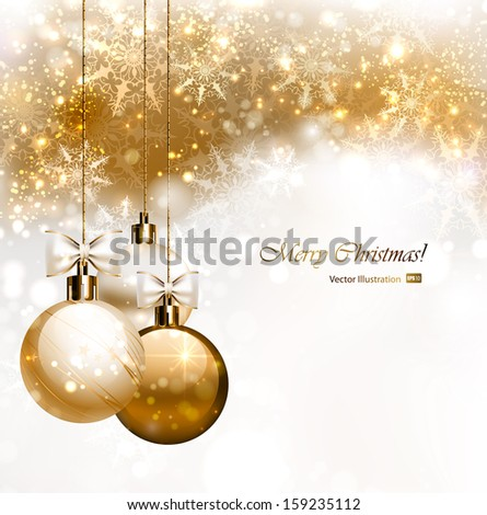 Christmas background with three Christmas baubles  - stock vector