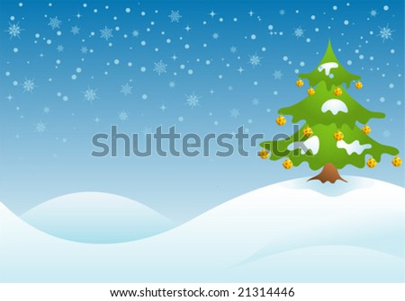 Christmas background with tree and bell, vector illustration