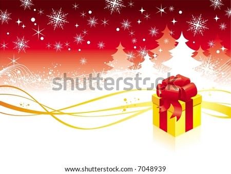 Christmas background with trees & gift