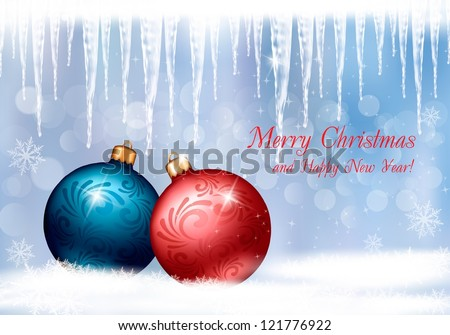 Christmas background with two colorful balls and icicles. Vector illustration. - stock vector