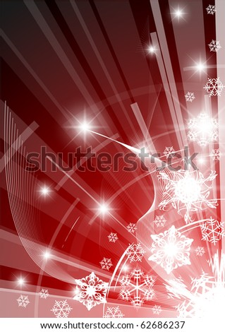 Christmas background with white snowflakes red version - stock vector