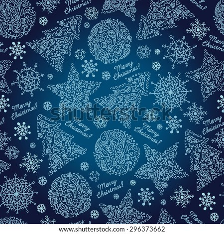 Christmas background with Xmas tree, stars ornaments, hearts, on dark blue background. Seamless pattern. - stock vector