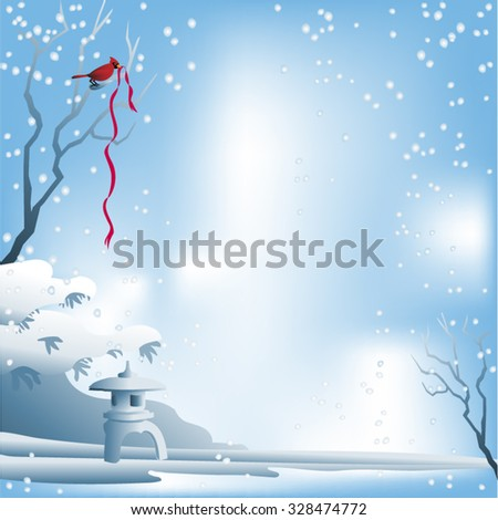 Christmas Background Zen Garden. Winter scene with red bird and red xmas ribbon. Snow on branches and snowflakes falling. Square format.