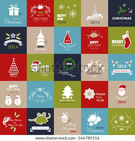 Christmas Backgrounds Set - Isolated Flat Icons - Vector Illustration, Graphic Design Editable For Your Design. Modern Design Labels. Happy New Year  - stock vector