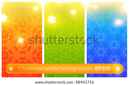 christmas backgrounds set with christmas elements, vector illustration - stock vector