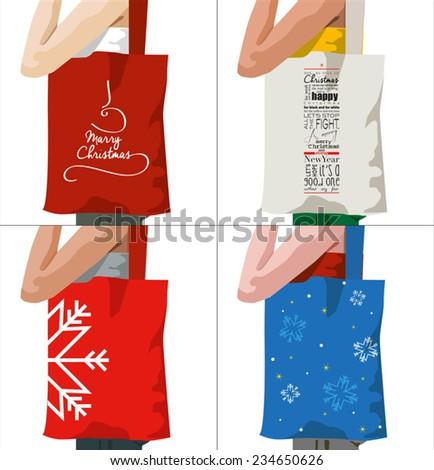 Christmas bags  - stock vector