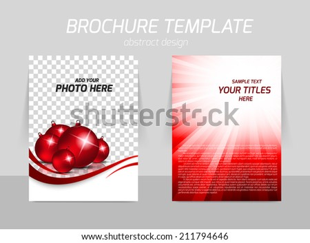 Christmas ball background back and front flyer template design - stock vector