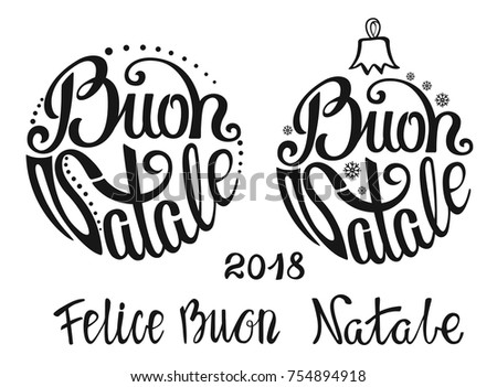 Christmas Ball Buon Natale Greeting Card Stock Vector 754894918 ...