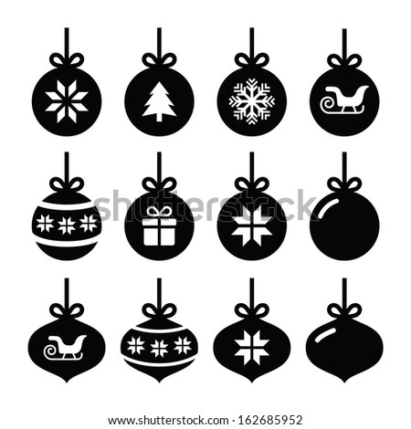 Christmas ball, christmas bauble vector icons set  - stock vector