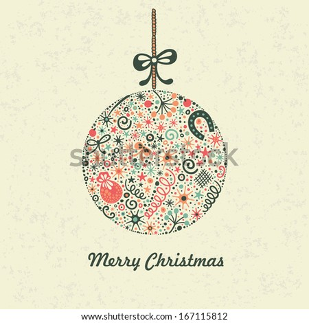 Christmas ball. Christmas decoration. Festive christmas postcard.