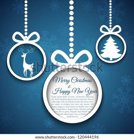 Christmas ball cut from paper on blue background. Vector eps10 illustration for your design. - stock vector