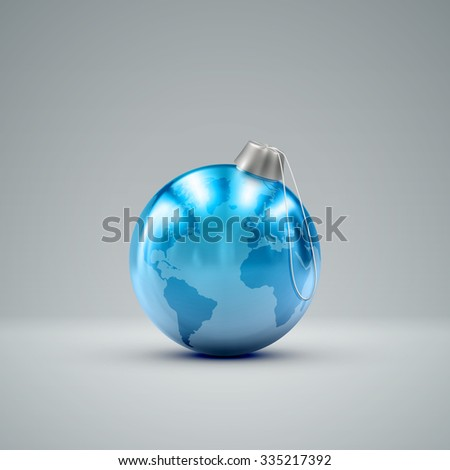 Christmas ball. Holiday vector illustration of traditional festive Xmas bauble with global map. Merry Christmas and Happy New Year greeting card design element.  - stock vector