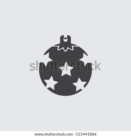 Christmas ball icon in a flat design in black color. Vector illustration eps10