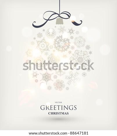 Christmas ball made from snowflakes - christmas card - stock vector